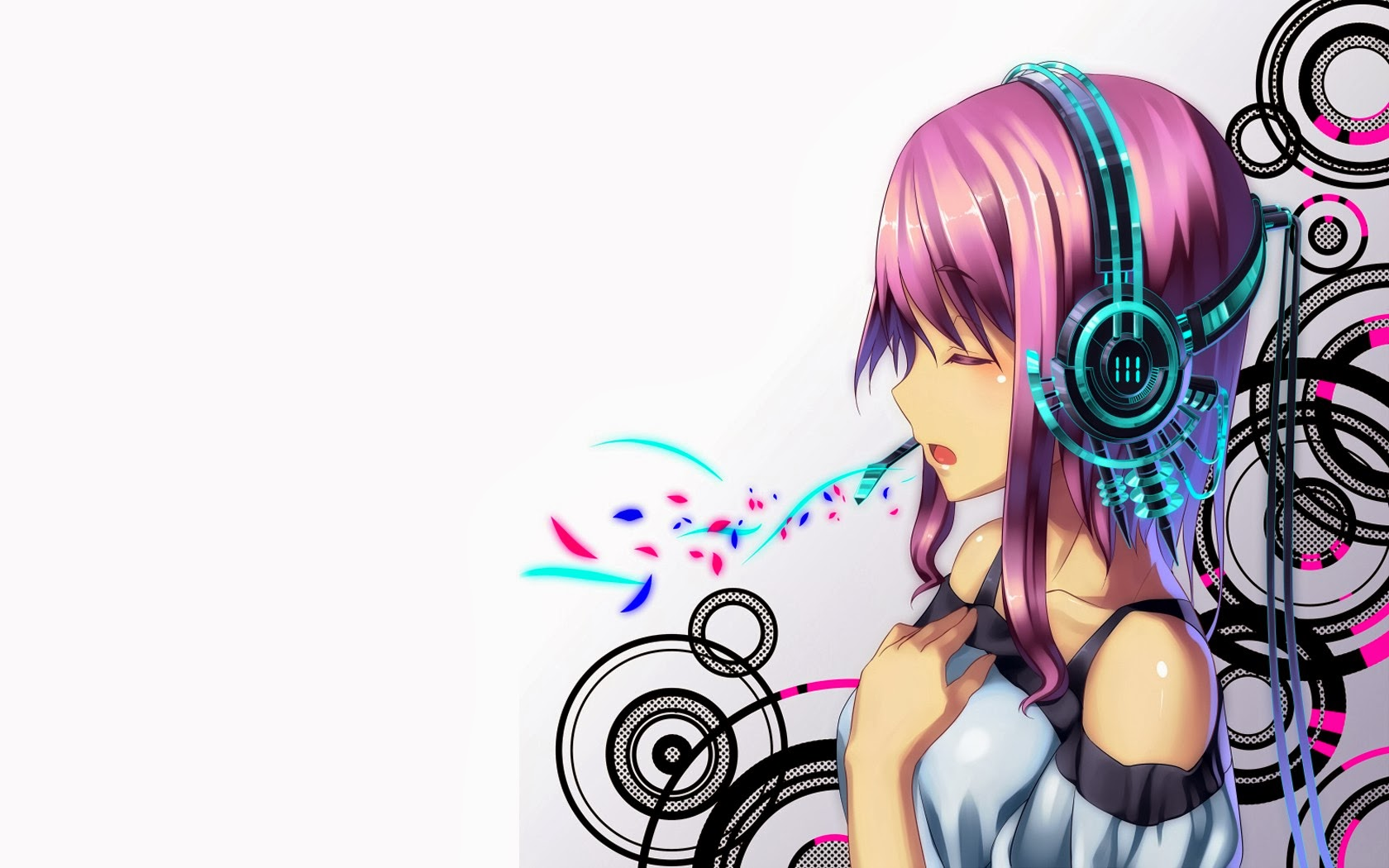 anime girl abstract headphone hd wallpaper 16801050 widescreen a913 1680x1050