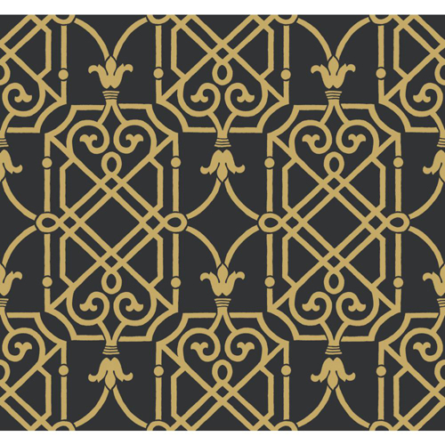 Wallcoverings Ashford Black White Onyx and Gleaming Gold Wallpaper 500x500