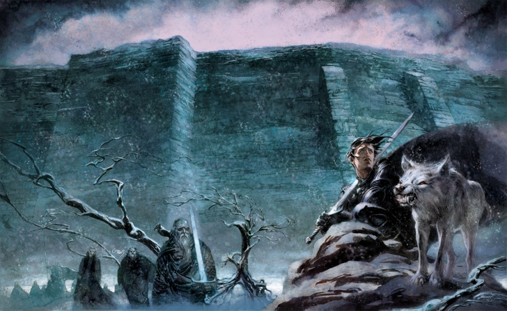 wolf game of thrones a song of ice and fire the wall jon snow swords 728x447