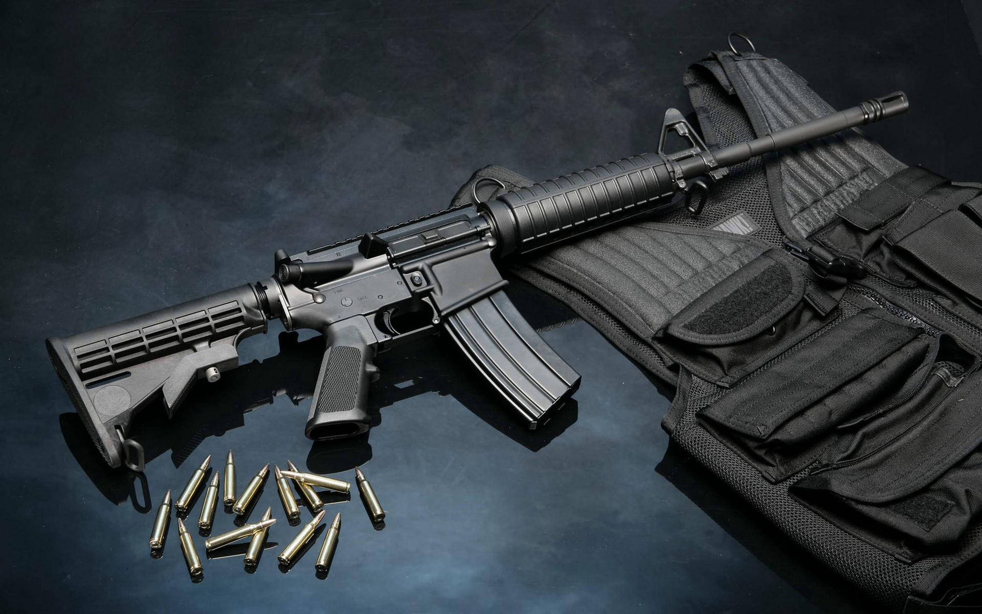 DEL TON AR 15 black bullet bulletproof vest del ton ar 15 gun 1920x1200