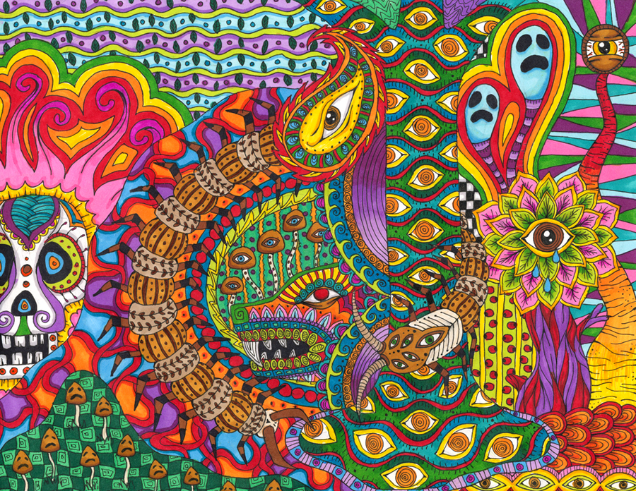 Psychedelic colourful drawings by Liquid Mushroom Andrei Verner 900x696