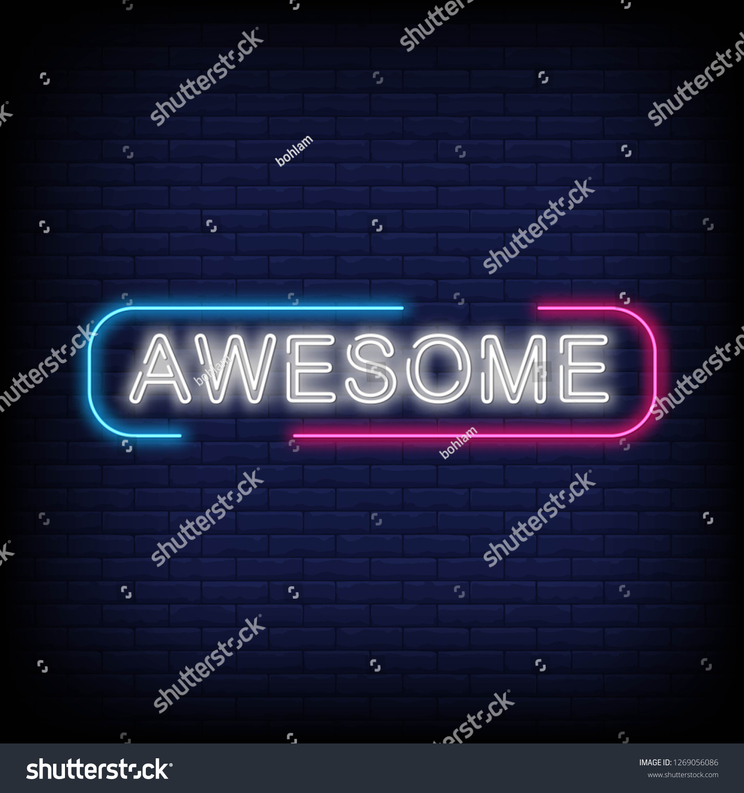 Awesome Neon Text Vector Brick Wall Stock Vector Royalty 1500x1600