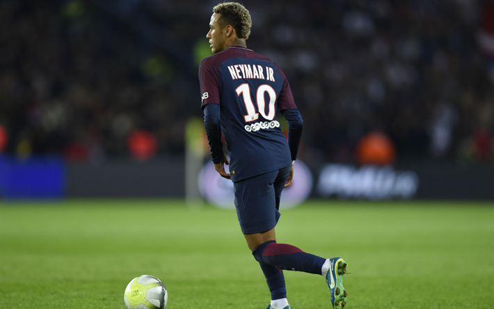 Download wallpapers 4k Neymar Jr match PSG soccer 710x444