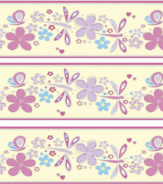 Dragonflies and Butterfly wallpaper border in pastel shades 618x700