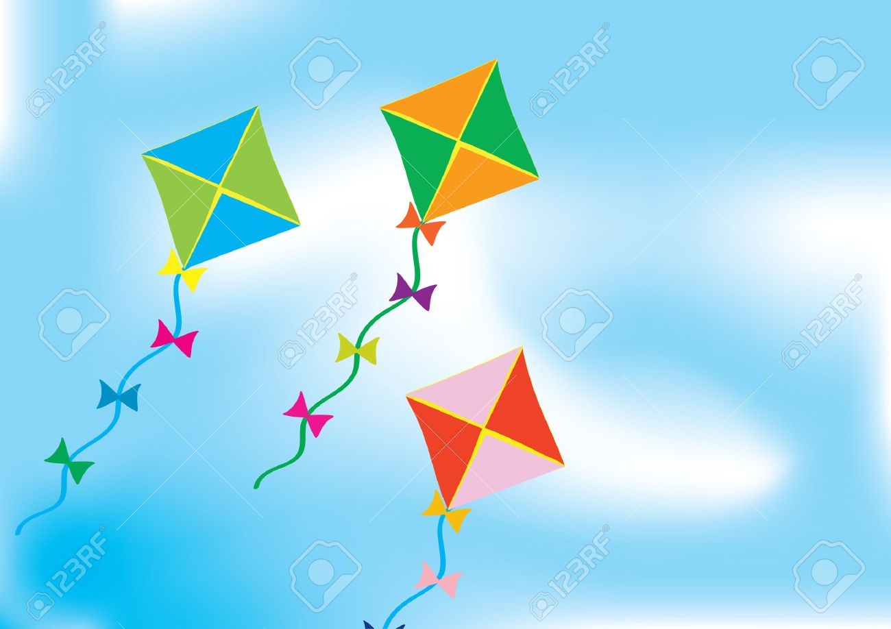 Abstract Background With Three Colourful Kites Royalty 1300x918