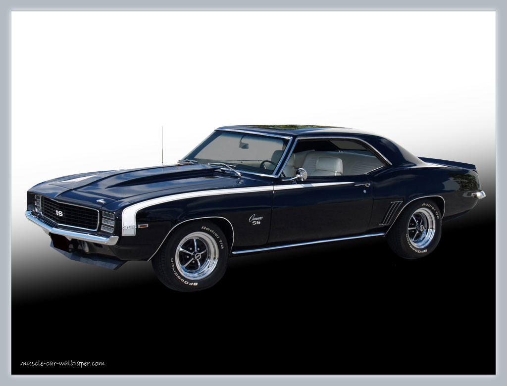 1969 Camaro SS Wallpaper   Black Sport Coupe   Left Front View 1024x780