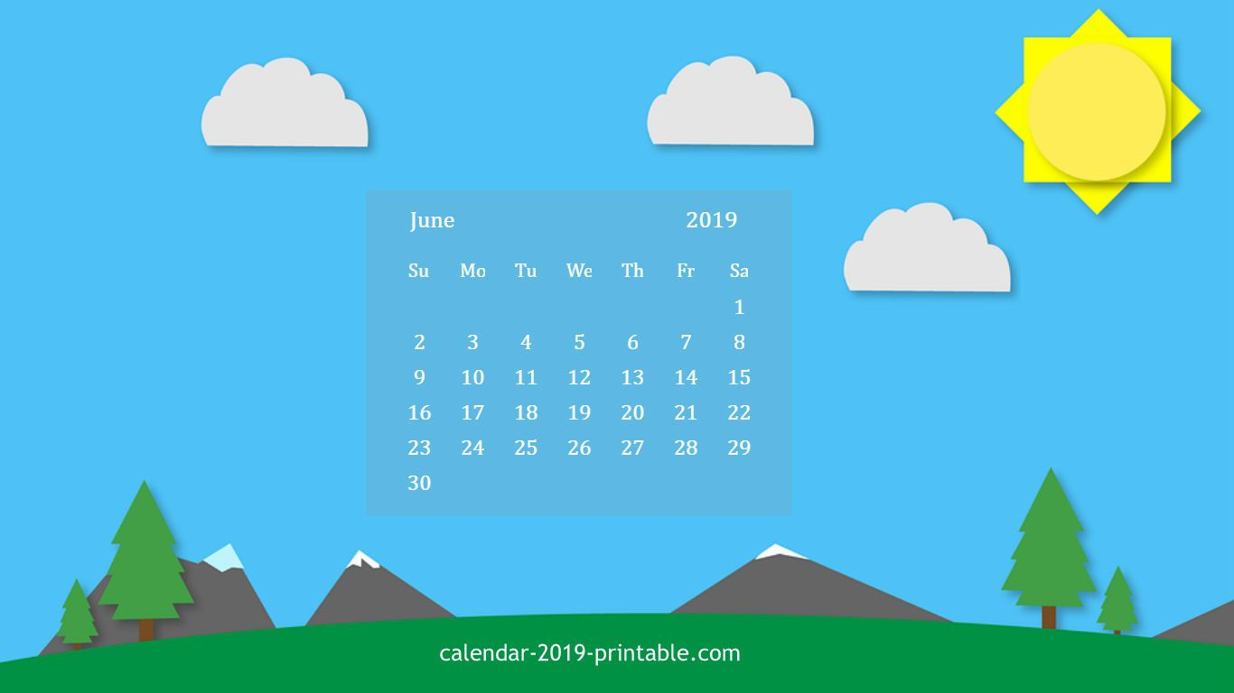 june 2019 calendar hd wallpaper Calendar 2019 Wallpapers June 1366x768