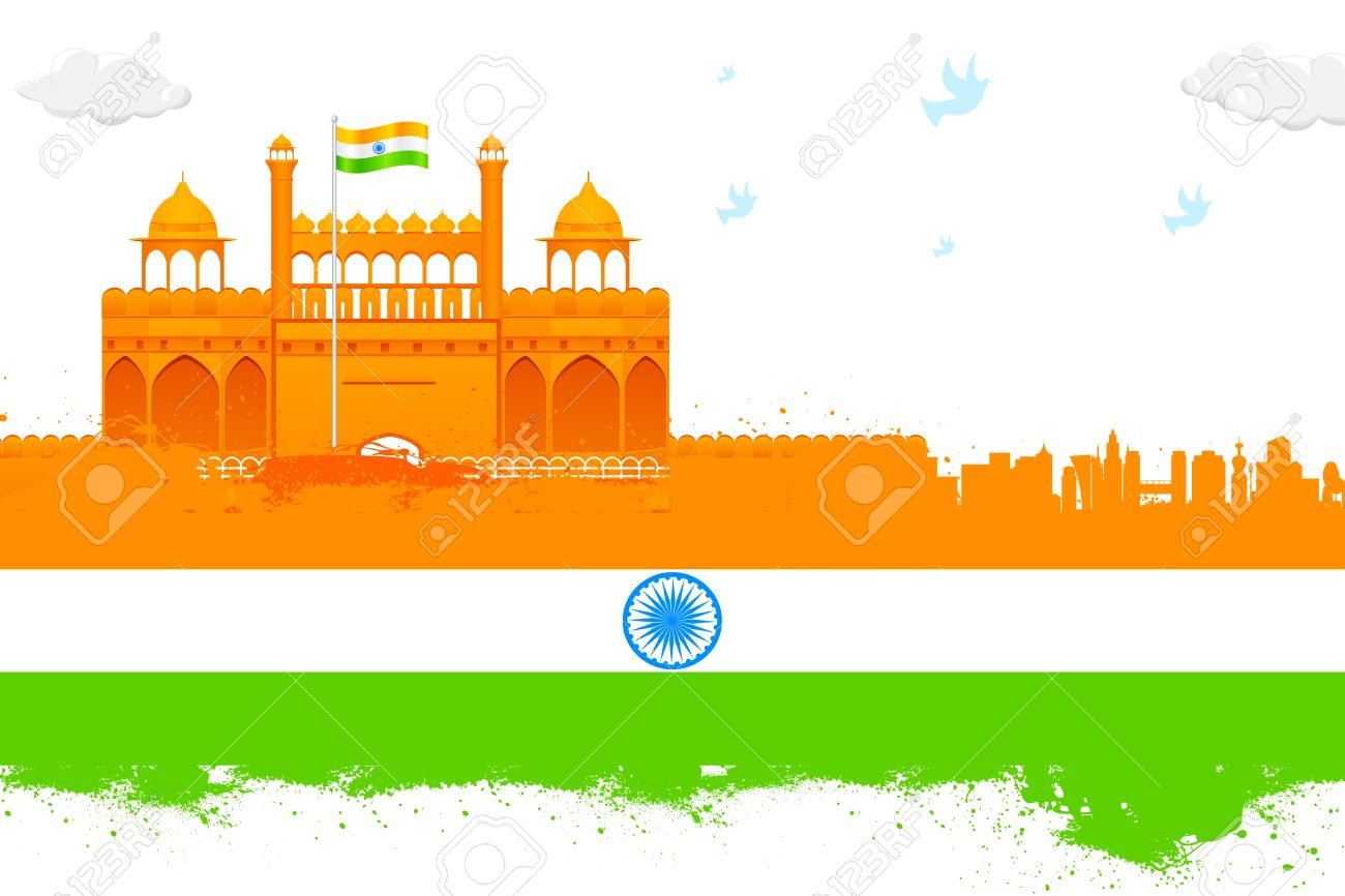 India Background With Red Fort Royalty Cliparts Vectors And 1300x866