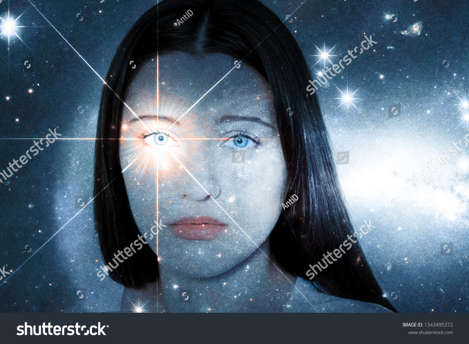 Girl Soulful Look Against Background Starry Stock Photo Edit Now 1500x1101