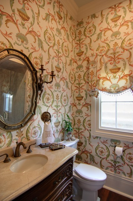 Guest Bathroom with Arabesque Wallpaper   Traditional   Bathroom   new 426x640