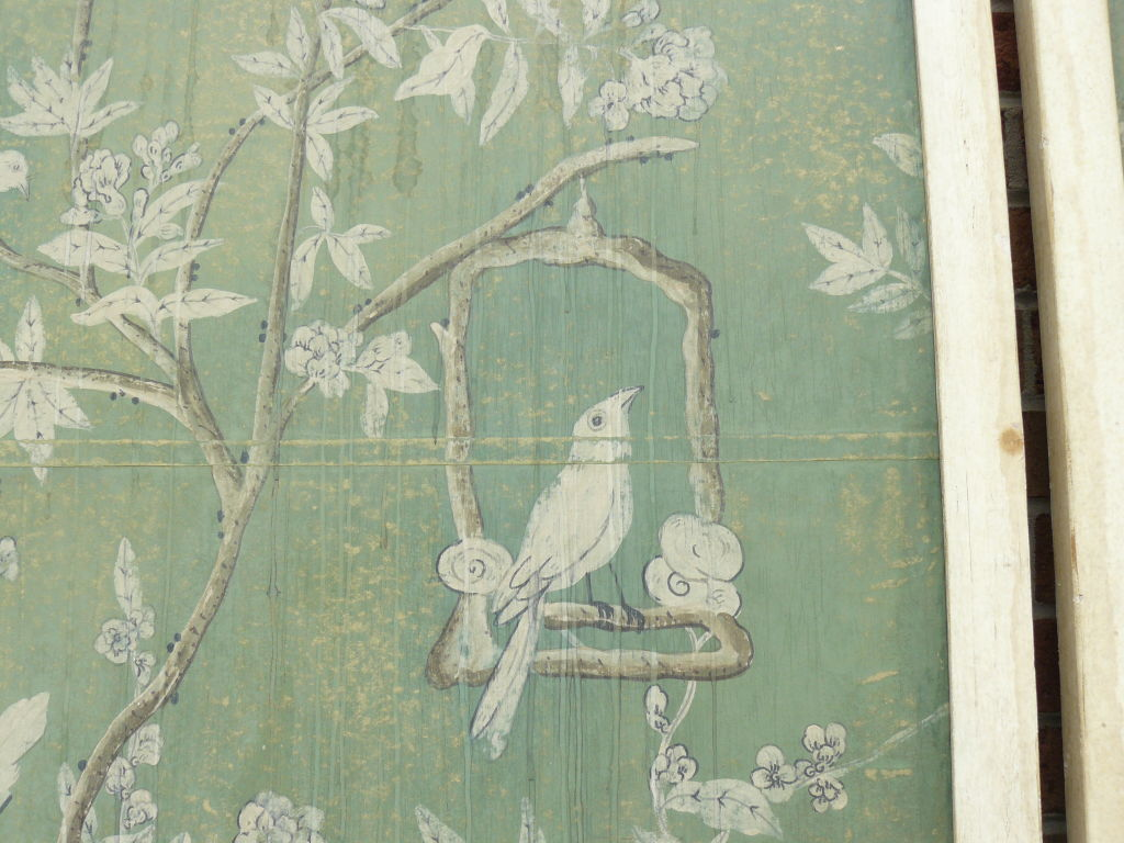 Large 30s French Chinoiserie Hand Painted Framed WallPaper Panel at 1024x768