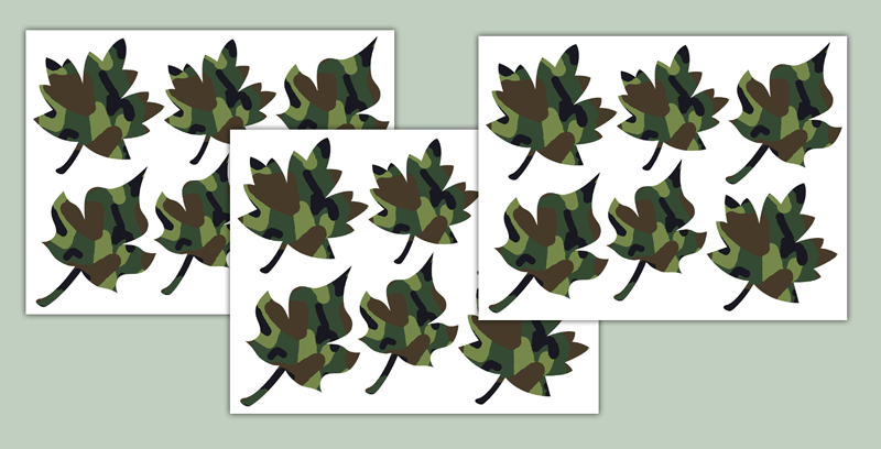 Green Camo Oak Maple Leaves Wall Art Decals Boys Room Decor [224] 800x408
