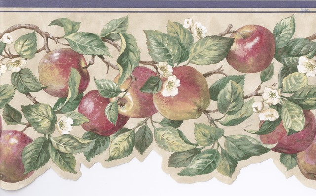 Blue Cream Apple Branches Floral Wallpaper Border   Kitchen 640x398