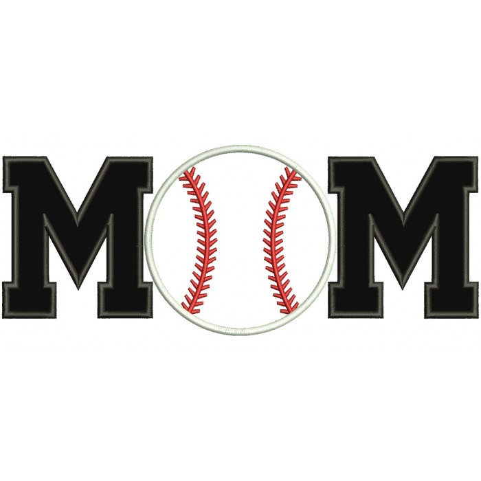 Baseball Mom Sports Applique Machine Embroidery Digitized Design 700x700