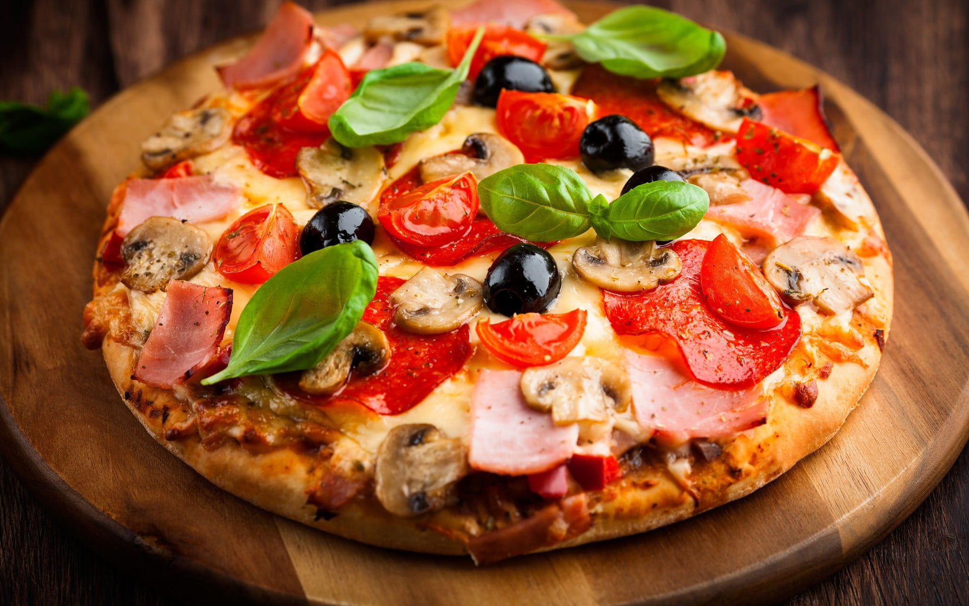Pepperoni pizza on wooden tray HD wallpaper Wallpaper Flare 1920x1200