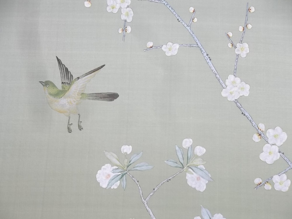 Two De Gournay hand painted silk panels depicting Chinese peonies 1000x750
