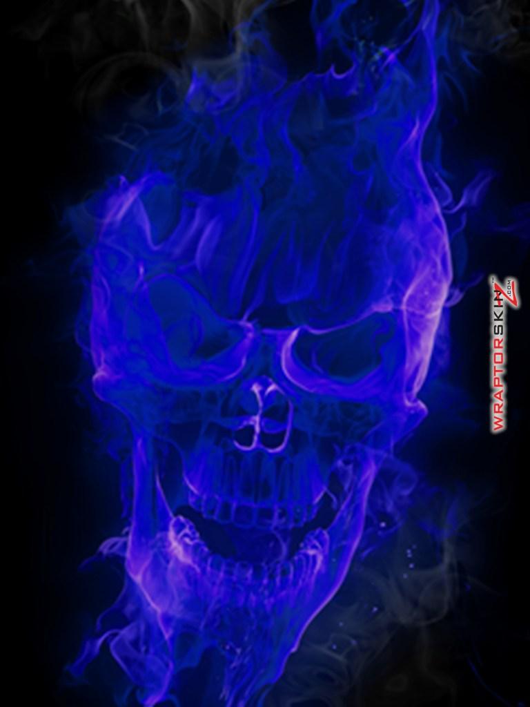 iPad Skin Flaming Fire Skull Blue fits iPad 2 and iPad3 768x1024