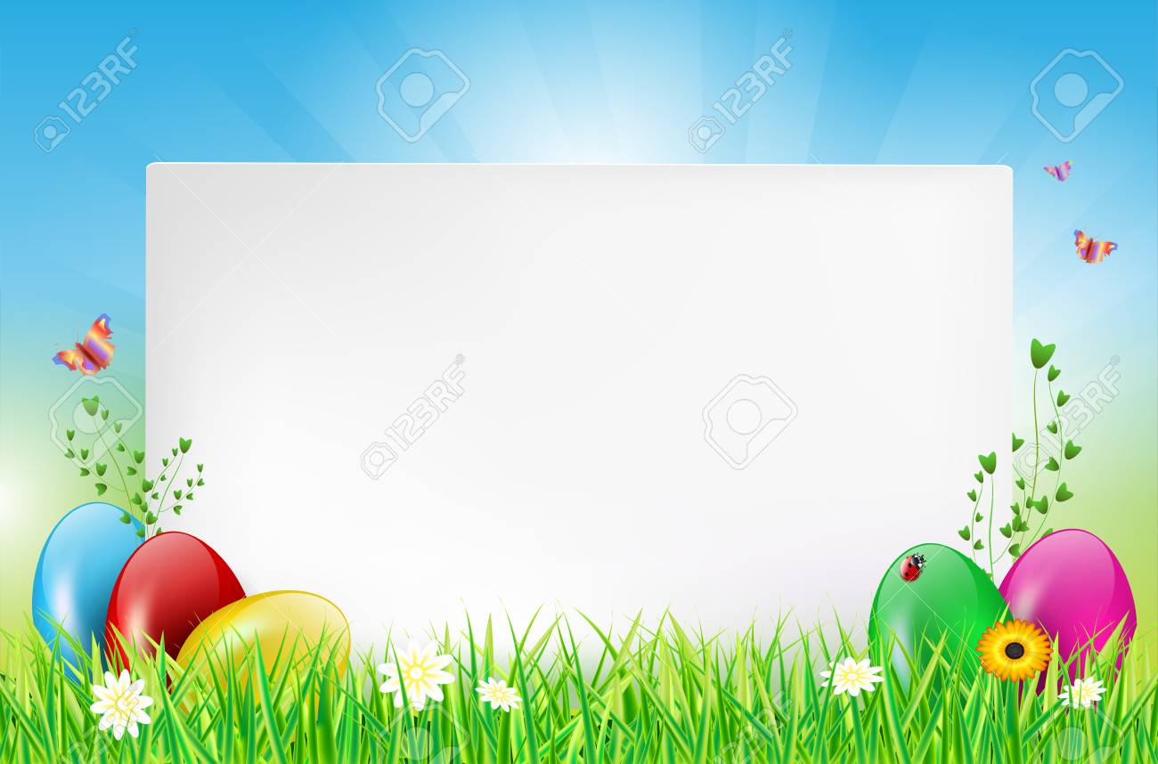 Easter Background With Paper Card Easter Eggs Grass Ladybug 1300x858