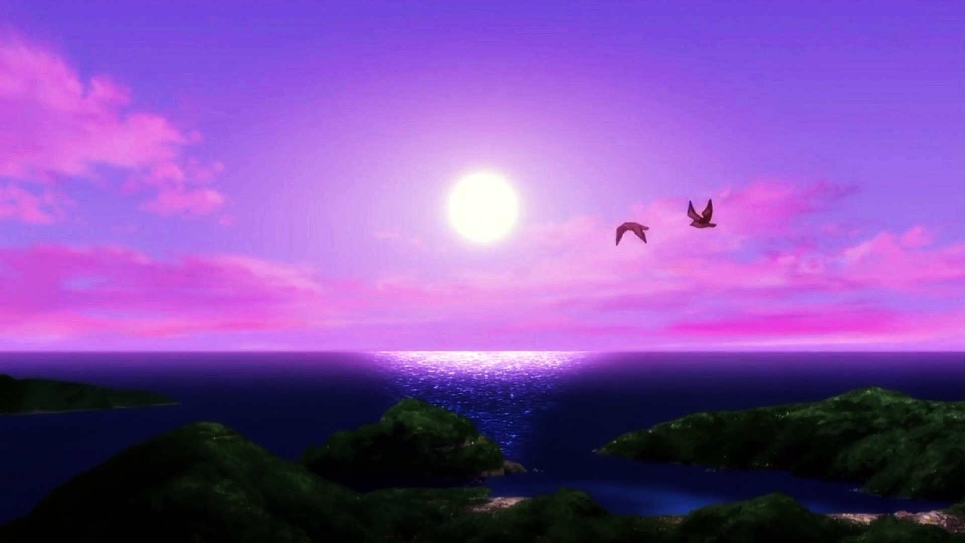 Purple Sunset Ocean Hd Wallpapers Downloand Now 1920x1080