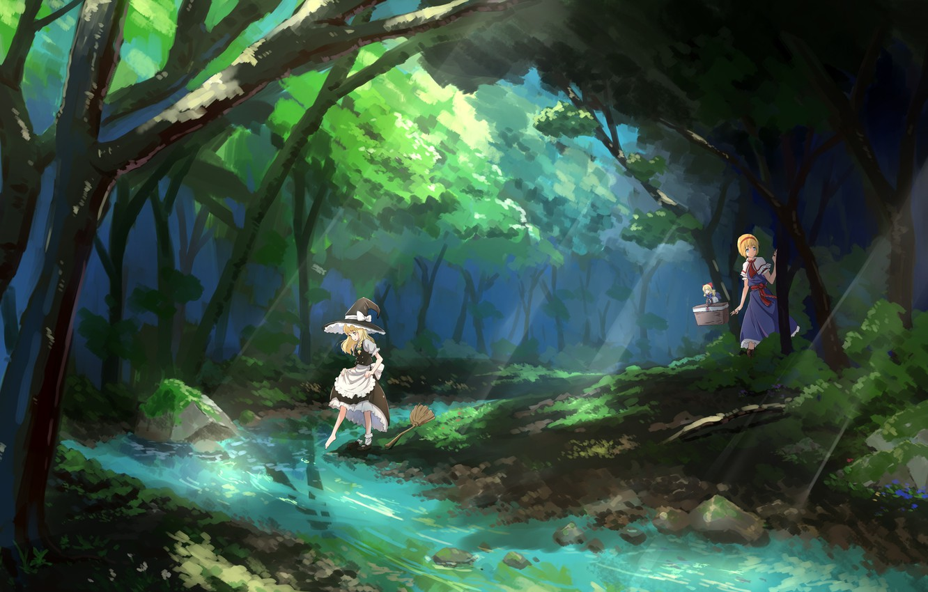 Wallpaper forest stream stones hat Shanghai broom touhou 1332x850