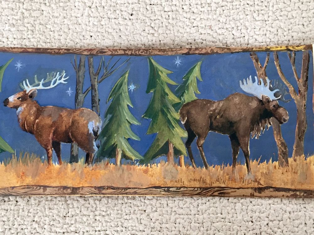 Rustic Moonlight Lodge Wallpaper Border with Bear Elk and Moose eBay 1000x749