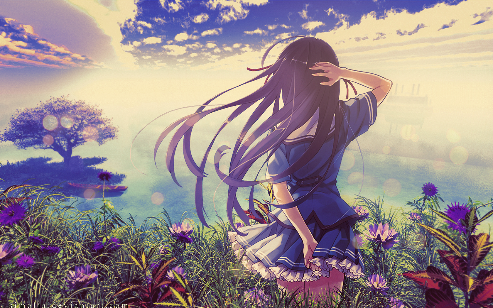anime girl wallpaper by simolia watch customization wallpaper other 1680x1050