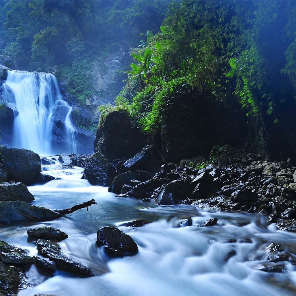 Beautiful Taiwan Forest Waterfalls iPad Air Wallpaper Download 1024x1024