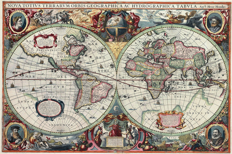 Vintage World Map Globe Atlas Antique wallpaper mural decor 800x532