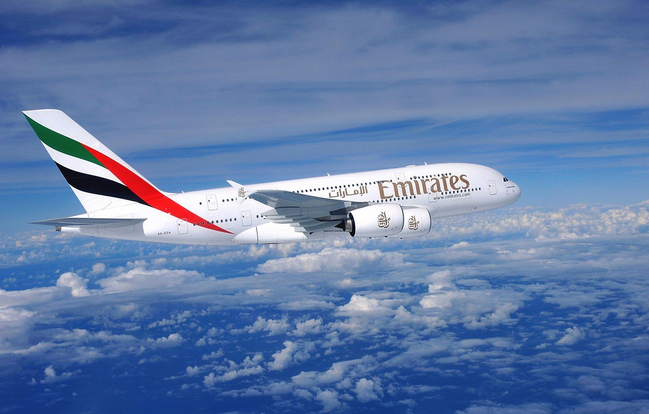 Wallpaper Clouds The plane Flight Day A380 Airbus Huge Side 1332x850