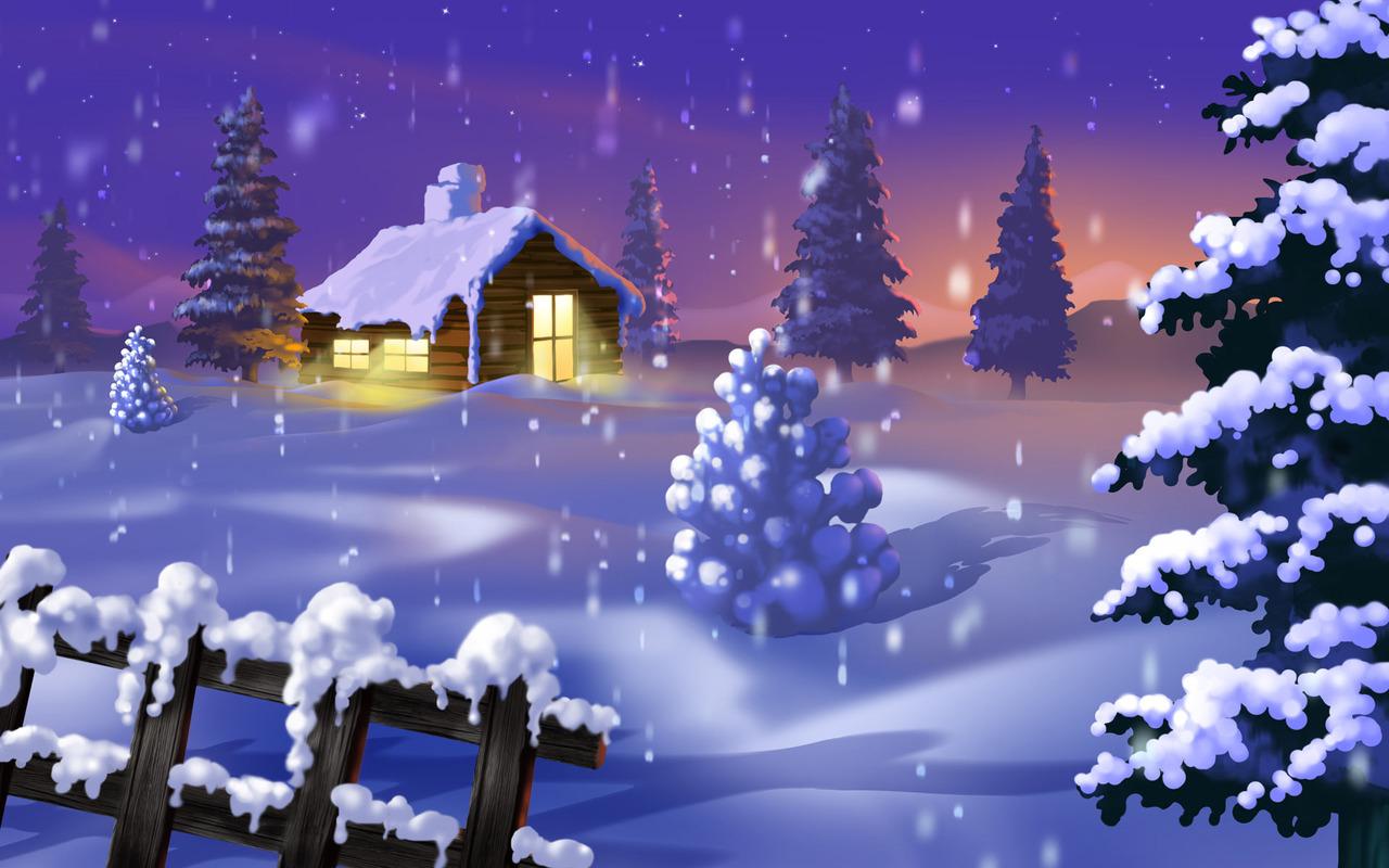 Cabin in the snow wallpaper 1789 1280x800