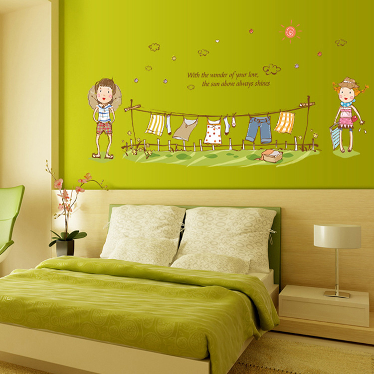 Clothes children cartoon wall sticker green removable PVC wallpaper 750x750