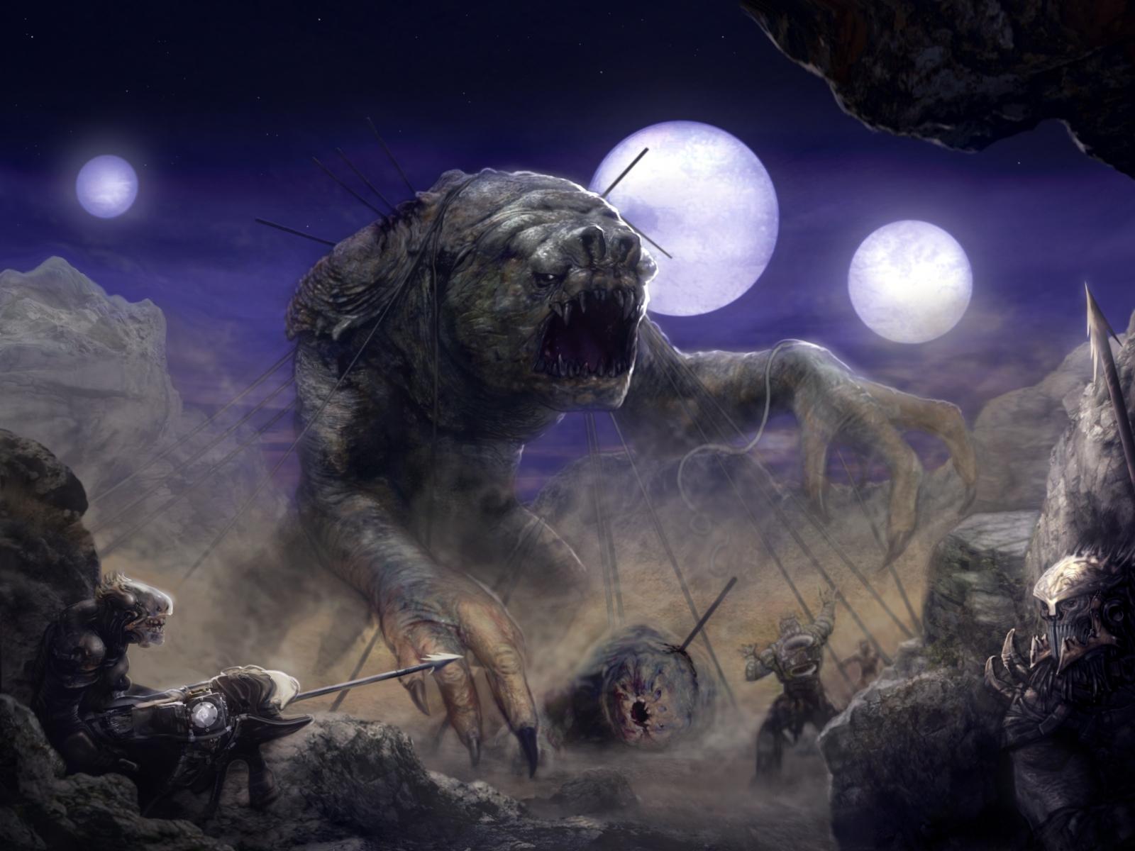 star wars landscapes movies night moon science fiction artwork rancor 1600x1200