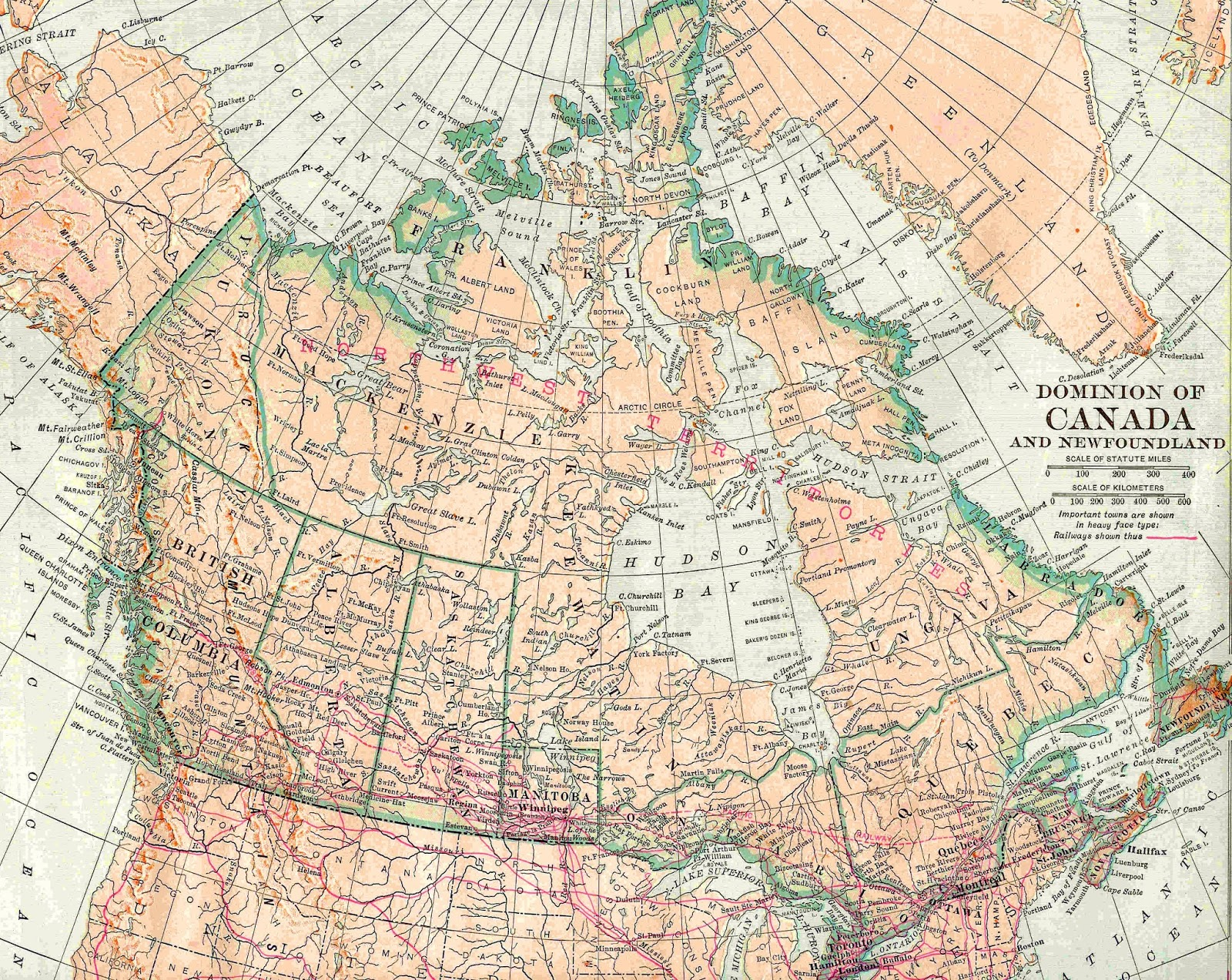 Antique Images Vintage Map Background 1913 Map Graphic of Canada 1600x1273