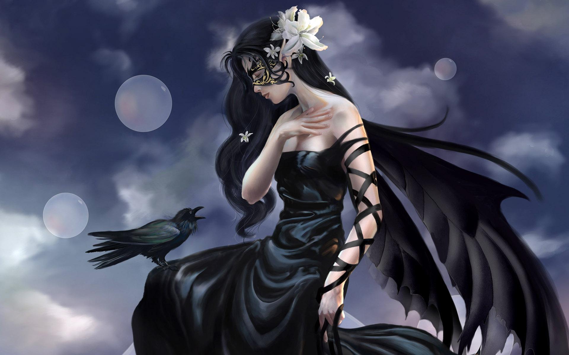 dark witch animals birds raven gothic women cg digital art wallpaper 1920x1200