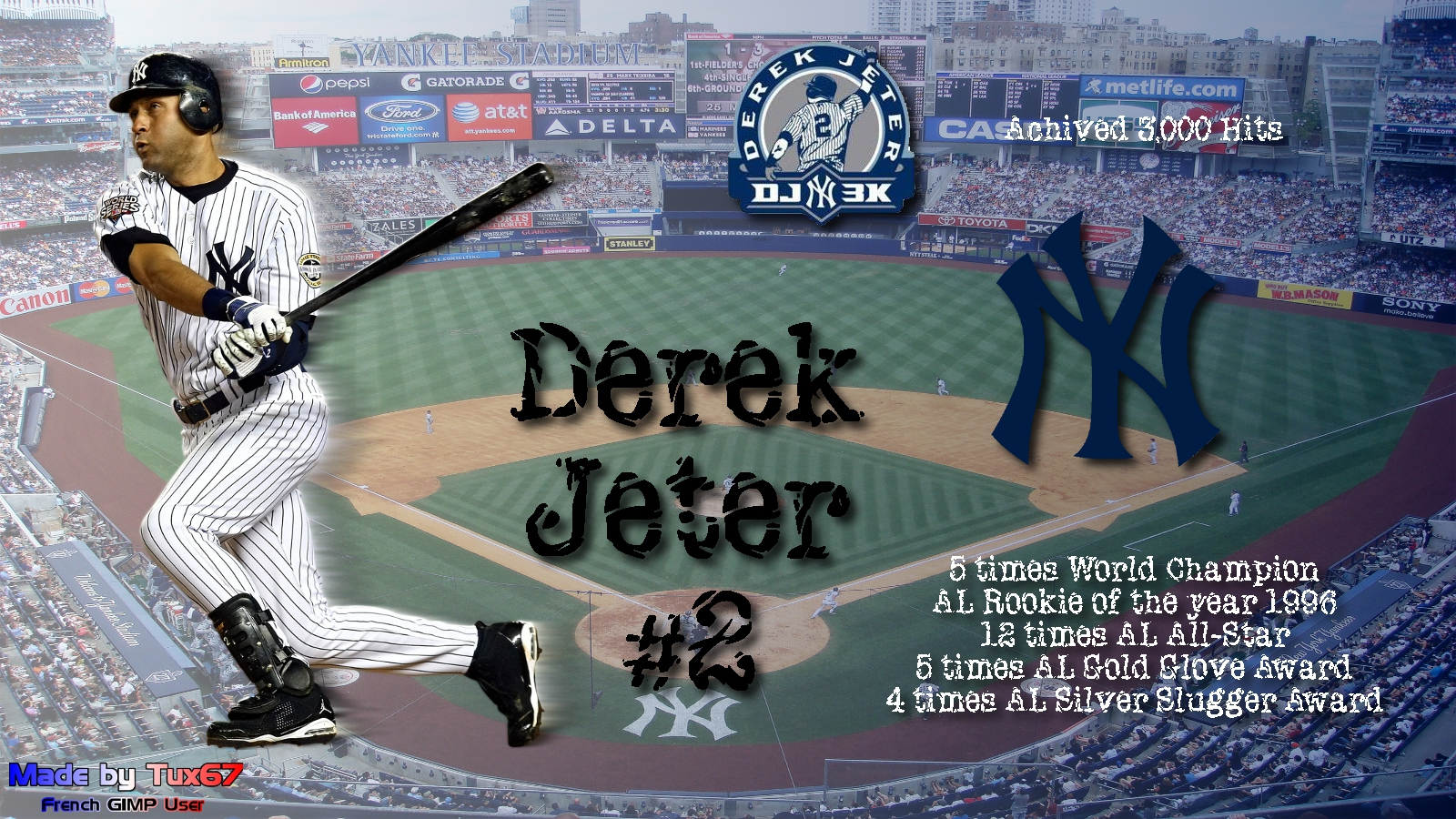 Derek Jeter 3k Hits My Sports Wallpapers 1600x900