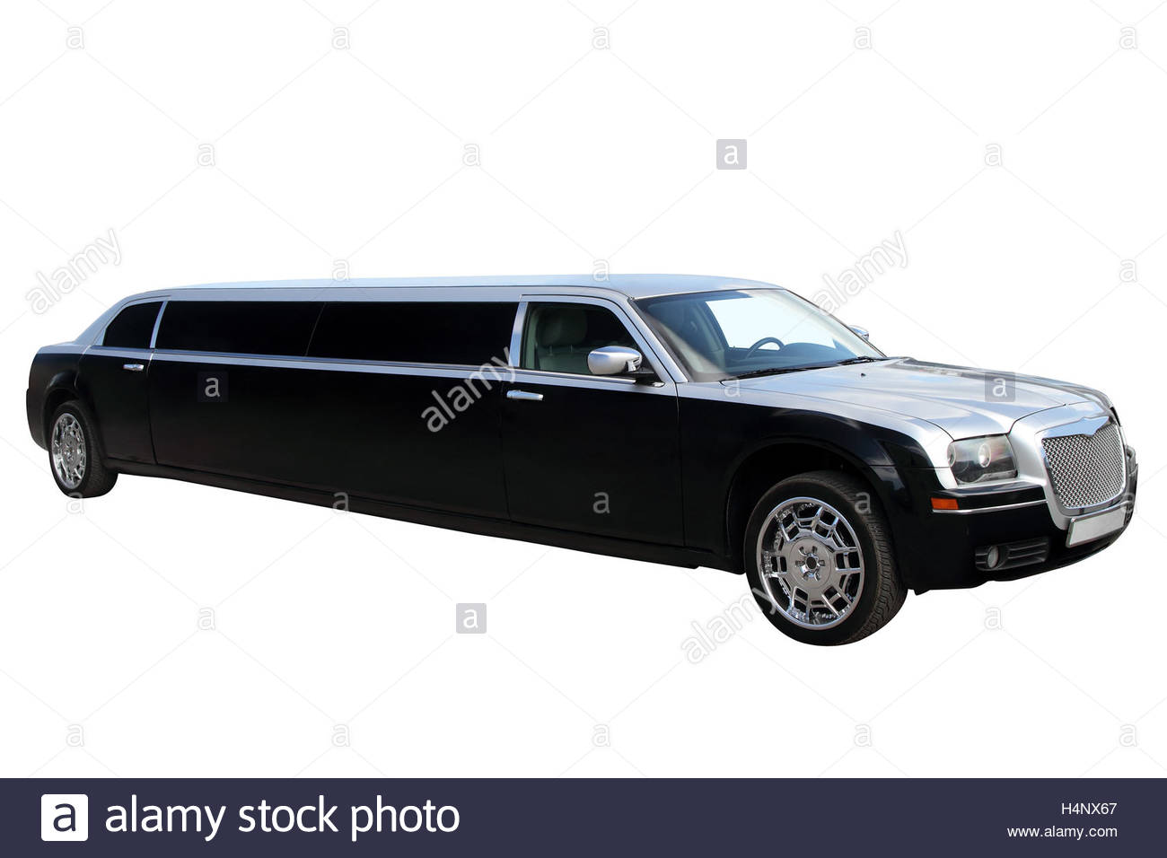 The classic black limousine isolated on white background Stock 1300x956