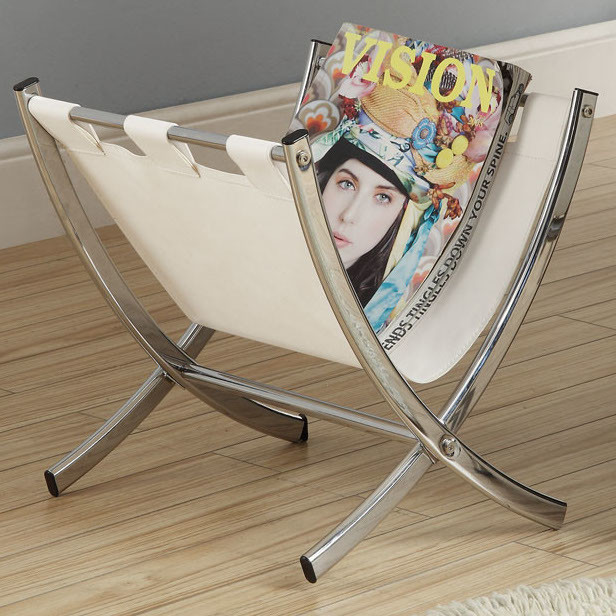 White Leather LookChrome Metal Magazine Rack contemporary magazine 616x616