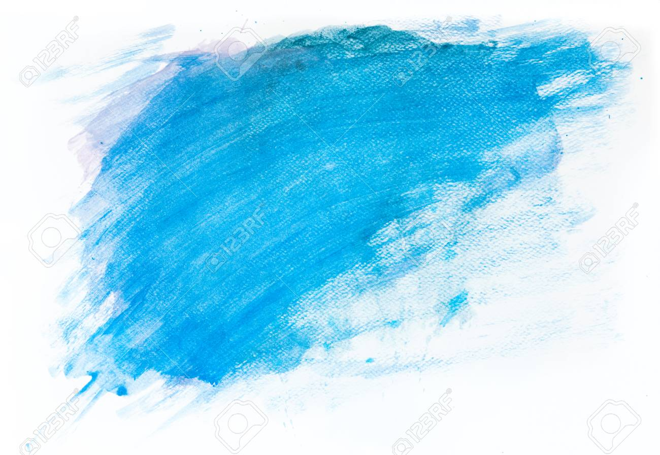 Blue Watercolor Paint On White Canvas Abstract Background Super 1300x897