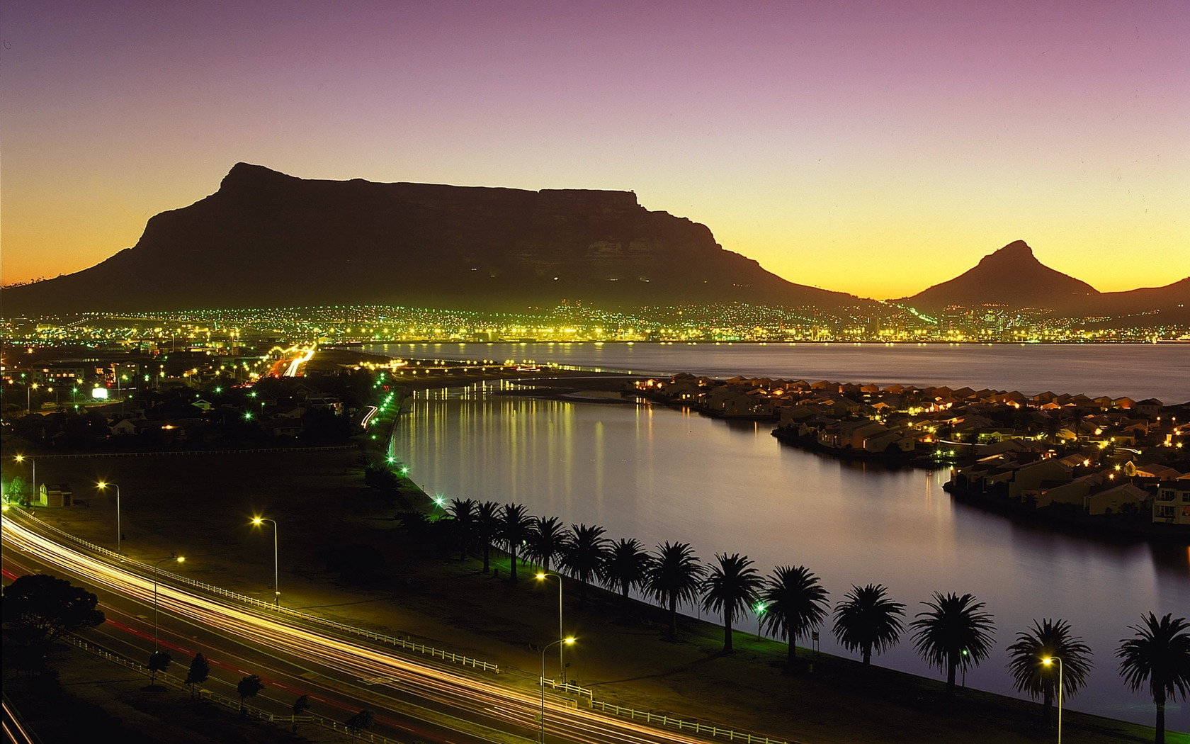 1680x1050 Wallpaper cape town south africa night lights palm trees 1680x1050