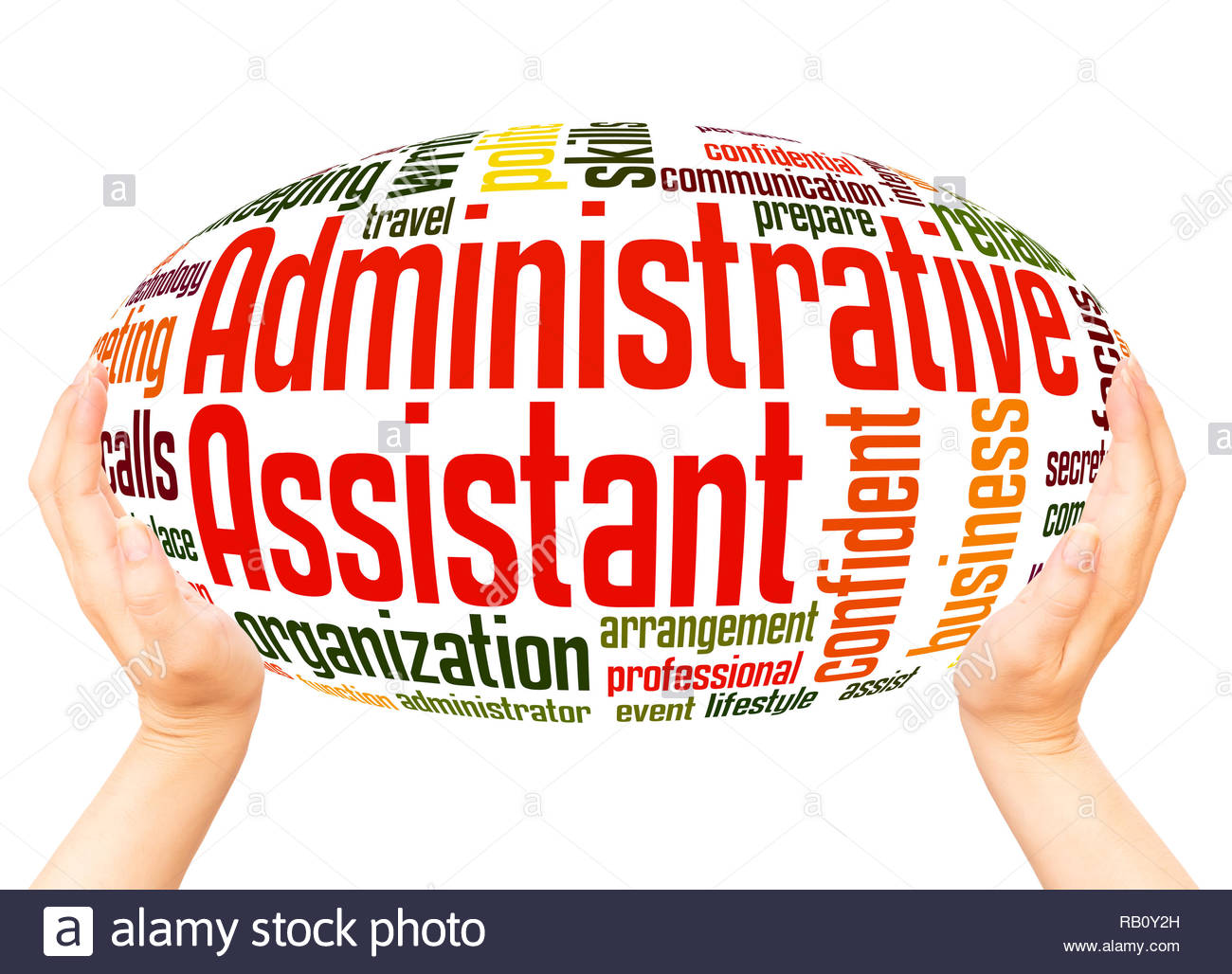 Administrative Assistant word cloud hand sphere concept on white 1300x1028