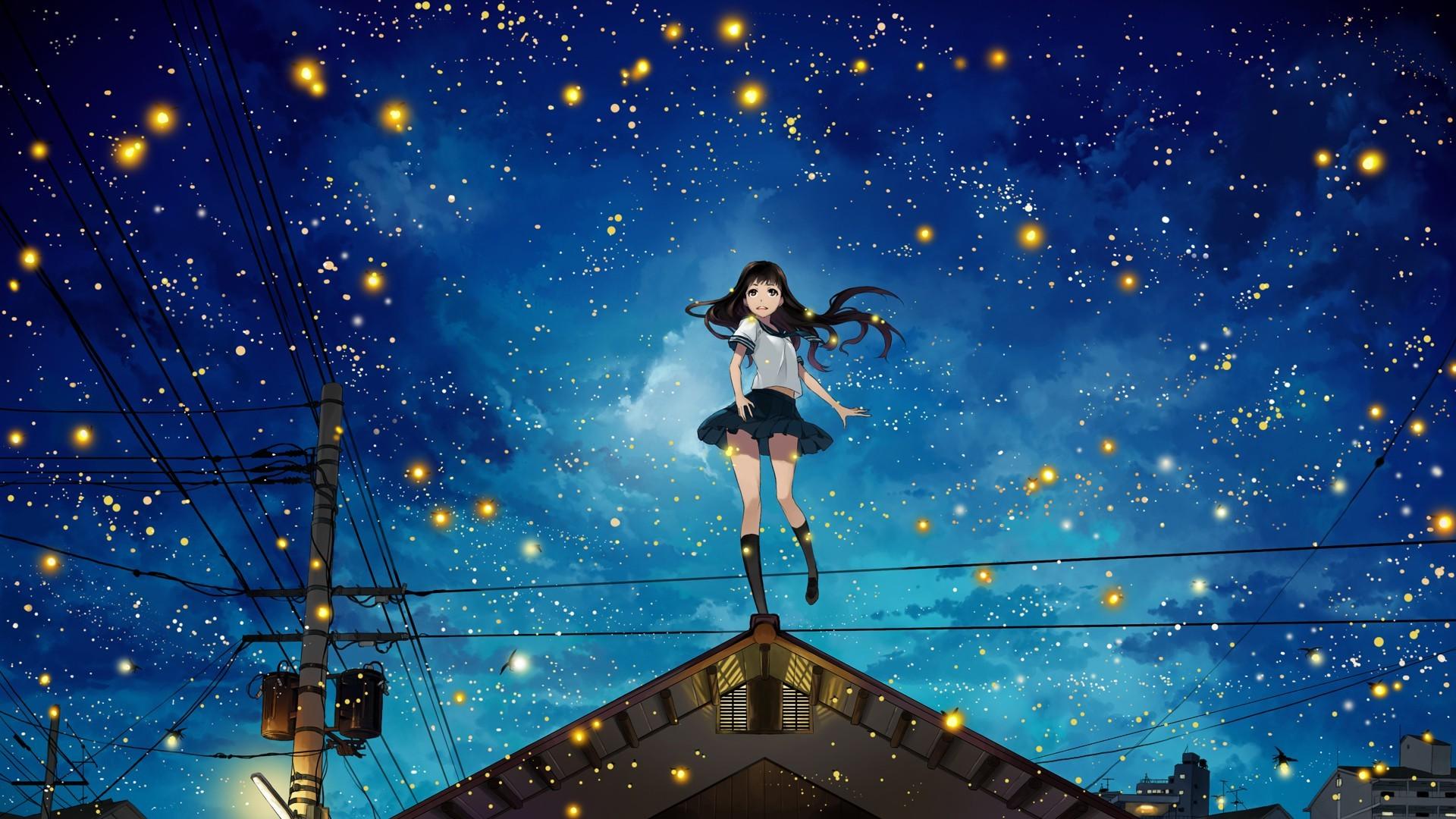 night Power Lines Rooftops Stars Anime Girls Original 1920x1080