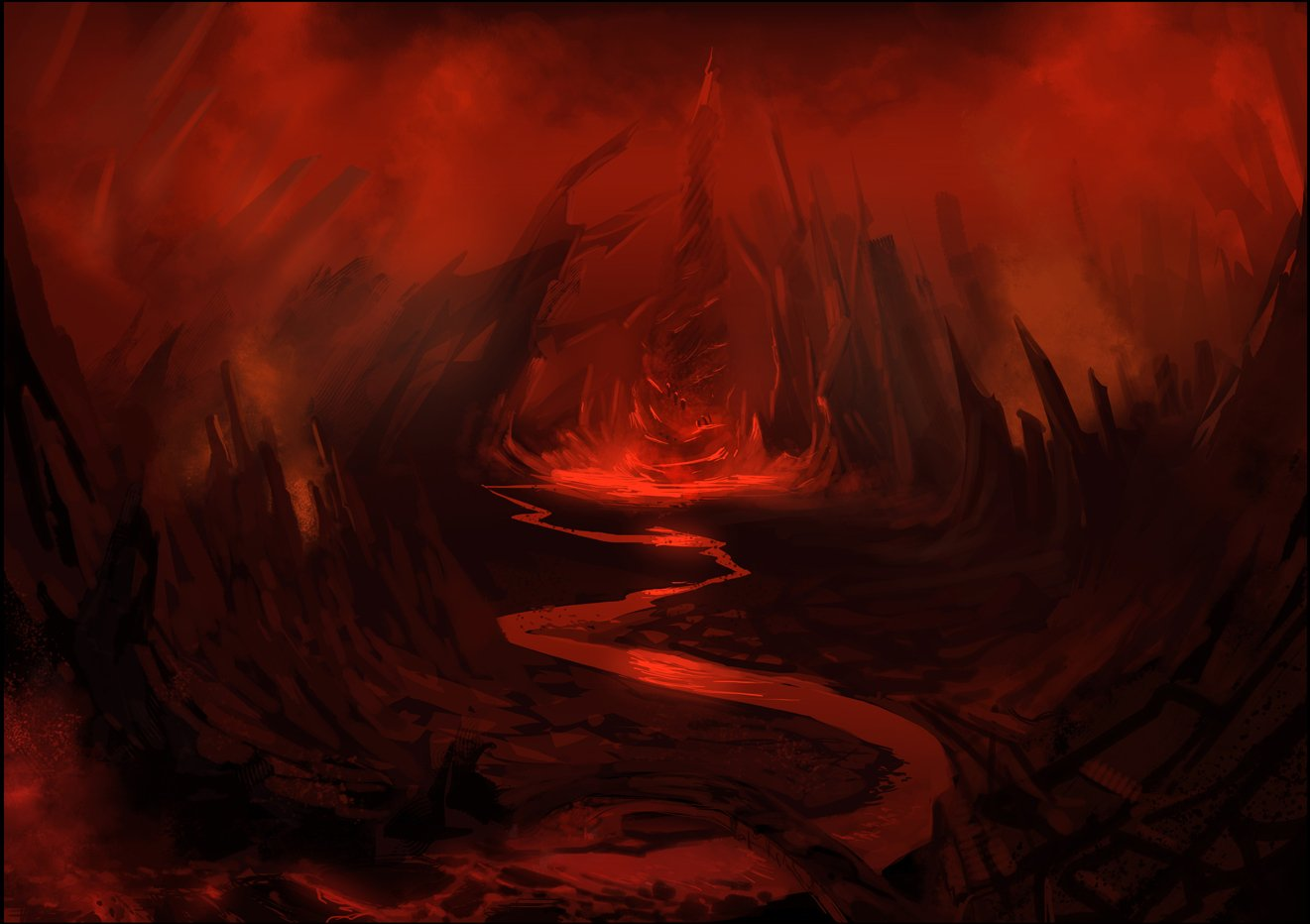 infierno hell red background HD Wallpaper 1321x932