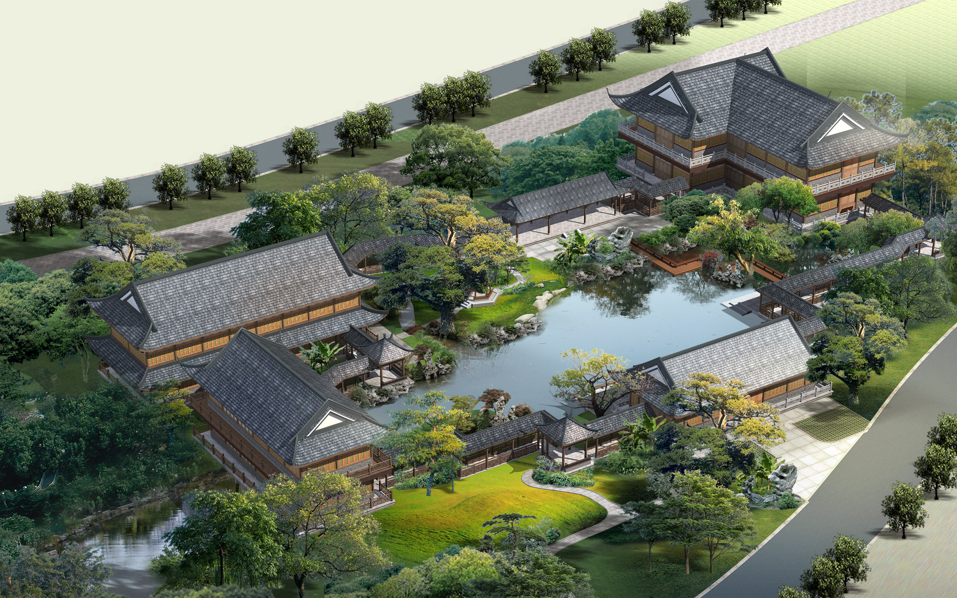 Effect of the second series of landscape architecture 16070   Building 1920x1200