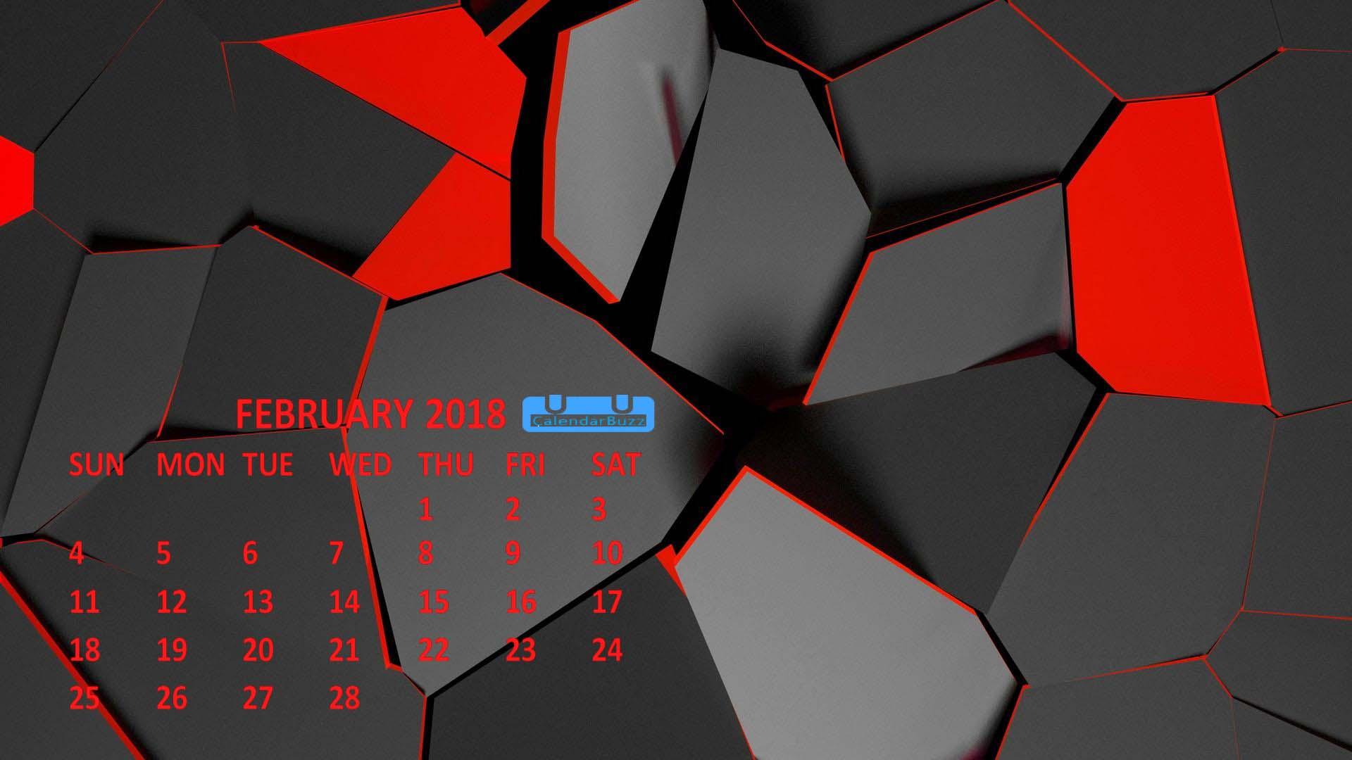 February 2018 Calendar Wallpaper Download CalendarBuzz 1920x1080