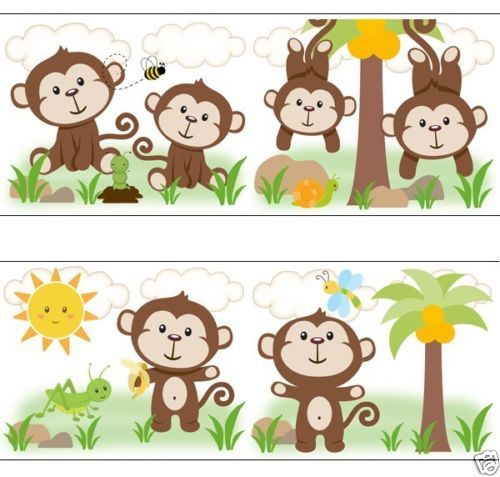 Monkey Border Paper Monkey wallpaper border decals 500x477