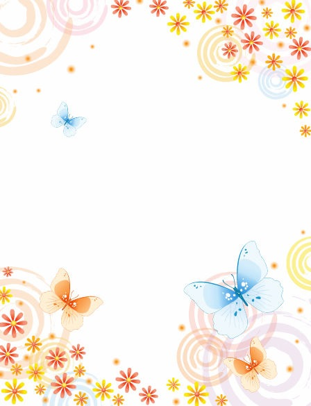Abstract Flower with Butterfly Vector Background Vector 448x585