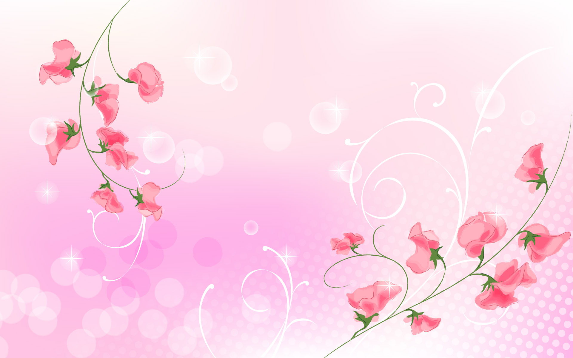 The Wallpaper Two Red Branches Of Flower And Light Pink Background
