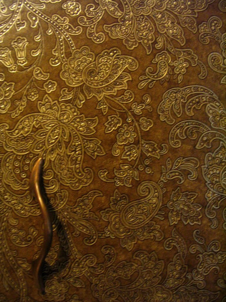 We covered our kitchen cabinets in faux tooled leather wallpaper We 768x1024