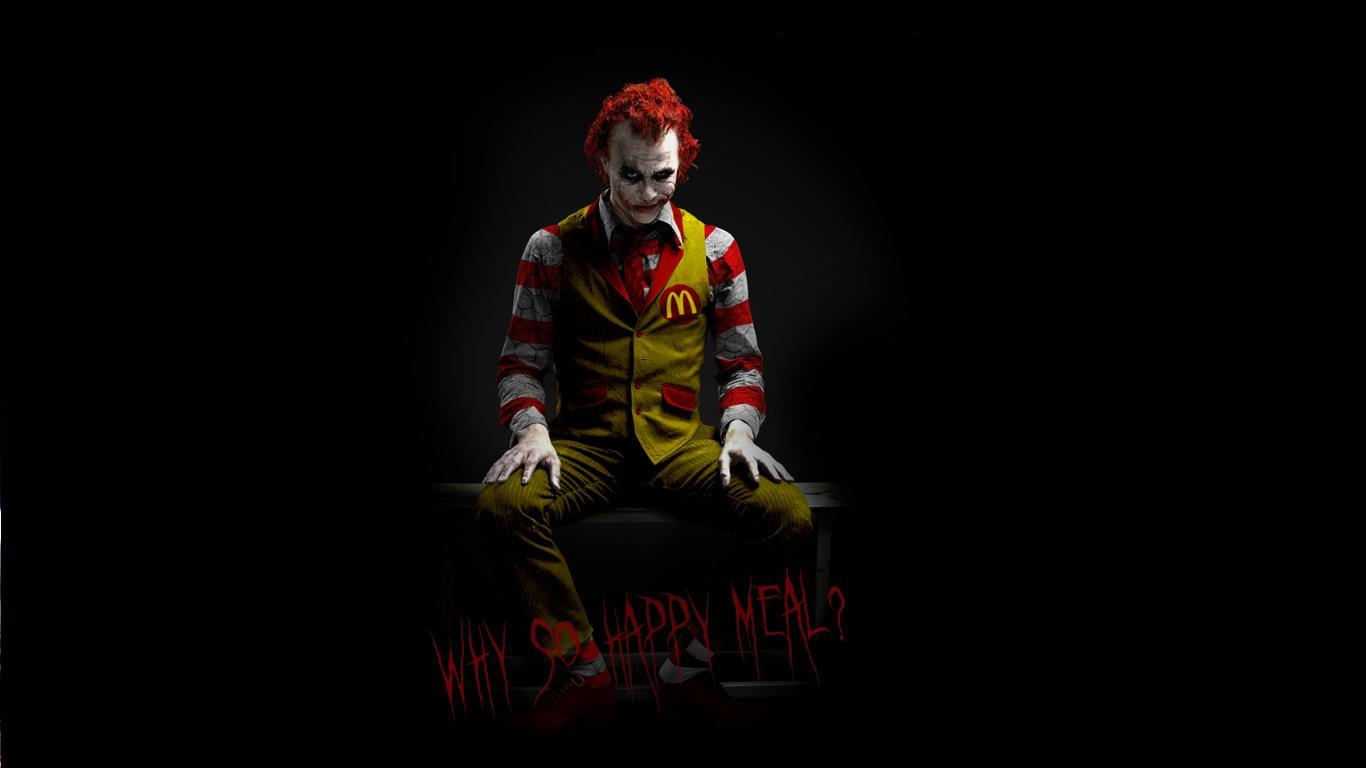 The Joker Wallpaper 1366x768 The Joker McDonalds Heath Ledger 1366x768