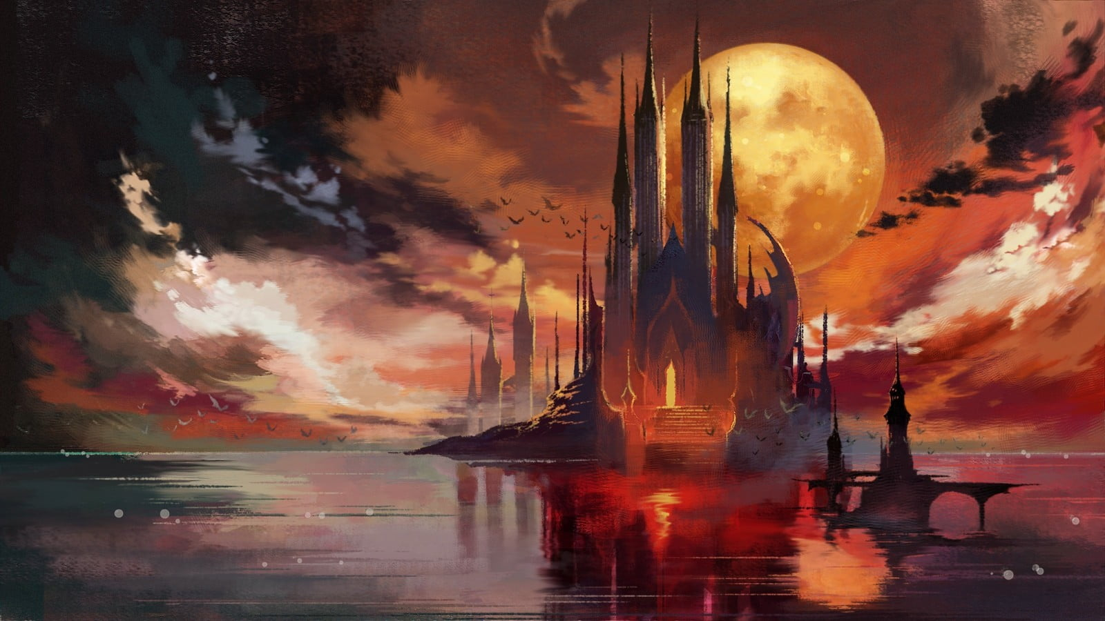Castle surrounded by water wallpaper Bloodstained Ritual of the 1600x900
